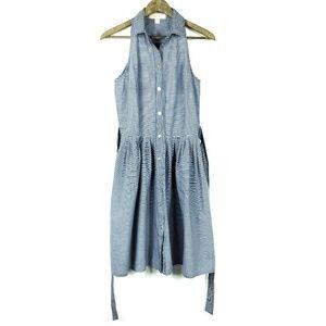 Michael Kors Blue Striped Cotton Pocket Dress